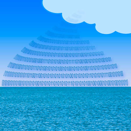 Secure storage on service cloud - concept image with binary code and cloud over a calm sea background