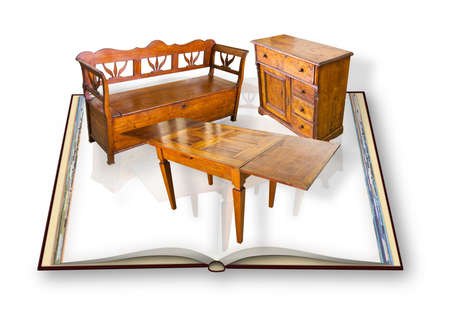 Ancient italian wooden furniture just restored - Concept with 3D render of an opened photo book isolated on white background 写真素材