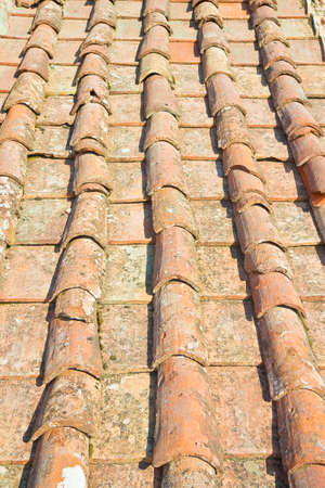 Old traditional tuscany terracotta roof covering (Tuscany - Italy) 写真素材