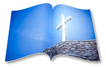 3D render of an opened photobook with christian cross - Im the copyright owner of the images used in this 3D render.
