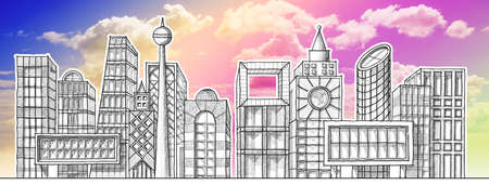 Drawing the skyline of a modern city hypothetical - pencil on white background