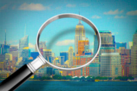 Getting to know Manhattan - Concept image seen through a magnifying glass with pixelation effect - Manhattan waterfront - New York City (USA)