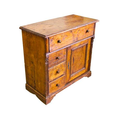 Old italian wooden dresser on white background Reklamní fotografie