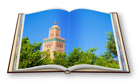 3D render of an opened photo book of the most important mosque in Marrakech called Kutubiyya or Koutoubia, with the ancient minaret (Africa - Morocco) - concept image.