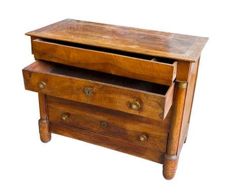 Old italian wooden dresser just restored on white background for easy selection Banco de Imagens