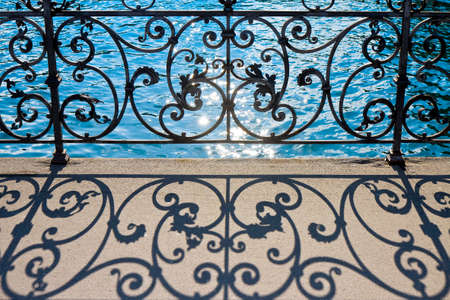 Old wrought iron railing on a walkway in Lucerne (Switzerland) - image with copy space