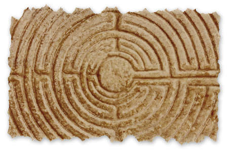 Labyrinth carved on the stone facade of a Romanesque church of the 11th century (Tuscany - Italy) - Retro style concept image with recycled cardboard with torn edges.