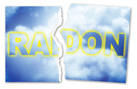 Ripped photo of radon gas text against a cloudy sky - concept image.