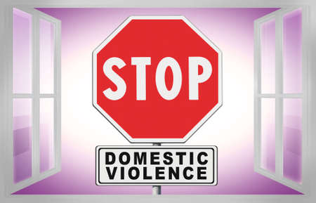 Stop domestic violence - concept image with road sign, text  and home window. 스톡 콘텐츠