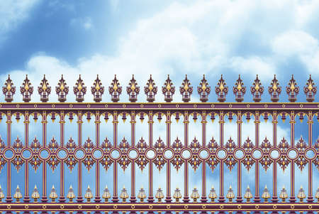 Detail of an old cast iron gate in Wien (Austria - Europe) against a clody sky - concept image