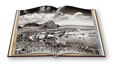 3D render of an opened photo book with Irish landscape (Northern Ireland - United Kingdom). I'm the copyright owner of the images used in this 3D render.