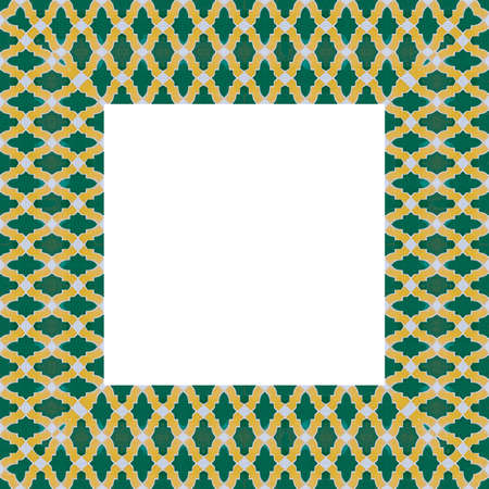 Frame composition of typical maroccan wall decorations with yellow and green colored ceramic tiles called azulejos with a geometric design - concept image with copy space.