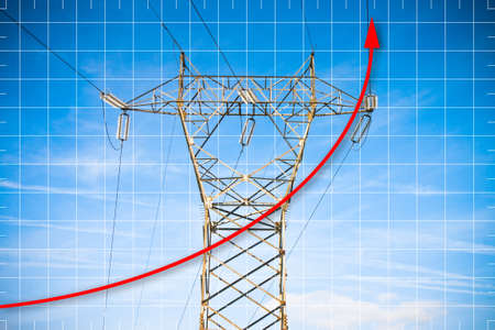 Hand drawing a graph about energy production - concept image with power tower and transmission lines on blue background