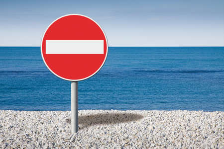 Bathing prohibition - concept image with road sign Stock fotó