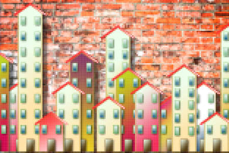 Public housing concept image painted on a brick wall - Concept image with pixelation effect - I'm the copyright owner of the graffiti images used in this picture.