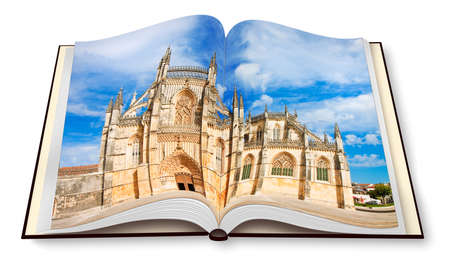 Detail of the facade of Batalha cathedral in Portugal (Europe) on opened photobook - 3D rendering.