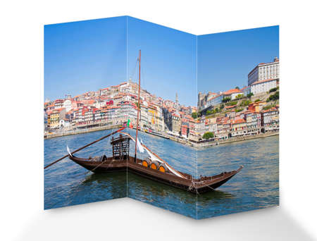 Typical portuguese wooden boats, called barcos rabelos, used in the past to transport the famous port wine (Porto-Oporto-Portugal-Europe) - concept image. Stock Photo