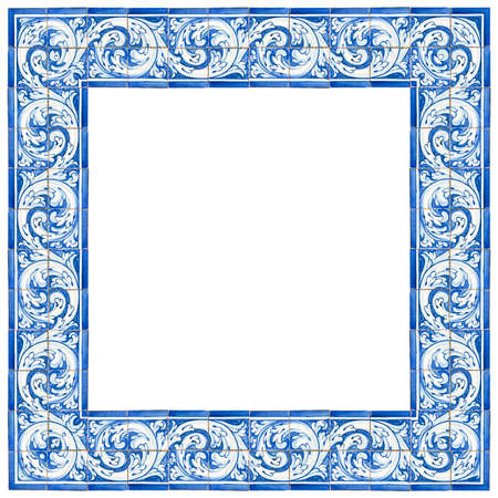 """Frame design with typical portuguese decorations with colored ceramic tiles called """"azulejos"""" - high resolution image on white background for easy selection - for more resolution please contact me."""