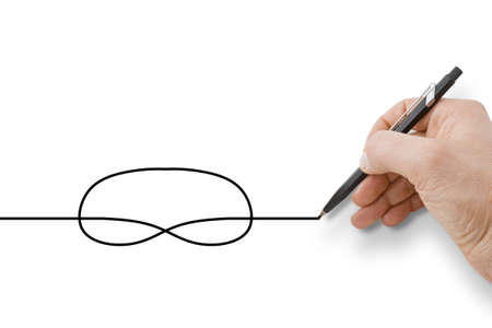 Hand holding a black pencil drawing a knot on white background