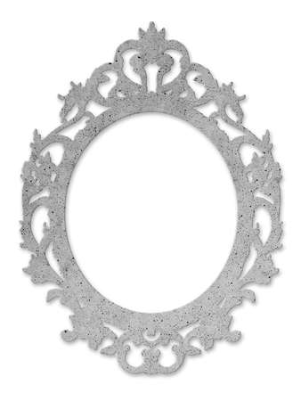 Concrete baroque oval frame - concept image with central copy space.