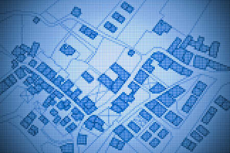 Imaginary cadastral map of territory with buildings, roads and land parcel - concept image with digital pixelation effect