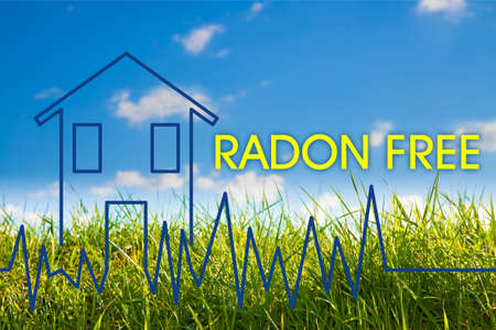 The danger of radon gas in our homes - Radon free concept image with check-up graph about radon air testing. 写真素材 - 150743414