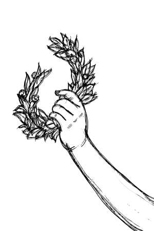 Sketch of hand holding a laurel wreath - Success and fame concept image on white background.