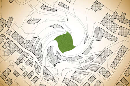 Imaginary cadastral map of territory with buildings, roads and land parcel - concept image shaped vortex. 写真素材