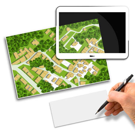 Imaginary cadastral map of territory with buildings, roads and land parcel - Concept image with 3D render of a digital tablet and hand writing on a white sheet.