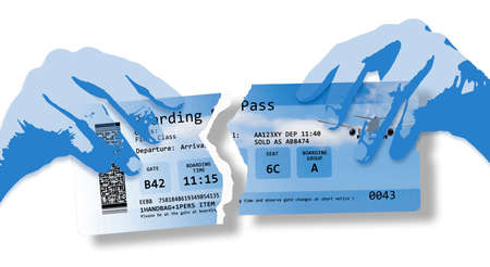 Hands ripping a plane ticket. Flight canceled concept image with ripped flight ticket - The image is totally invented and does not contain under copyright parts.