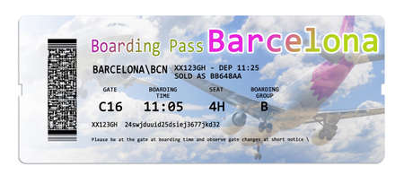 Airline boarding pass tickets to Barcelona isolated on white - The contents of the image are totally invented and not infringes on another person's intellectual property rights