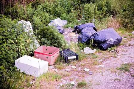 Illegal dumping with bottles, boxes and plastic bags abandoned in nature. Archivio Fotografico