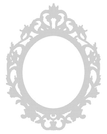Dotted black silhouette of an old wooden baroque frame - concept image with central copy space on white background for easy selection. Imagens