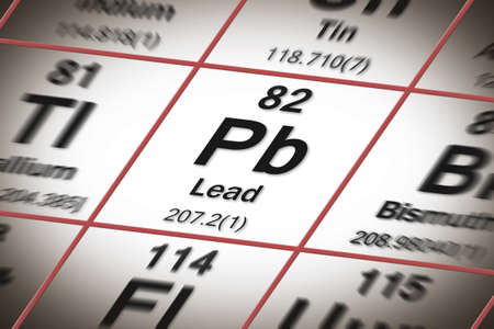 Lead chemical element with the Mendeleev periodic table - concept image. Stock Photo