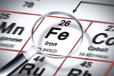 Focus on Iron chemical element - concept image with the Mendeleev periodic table