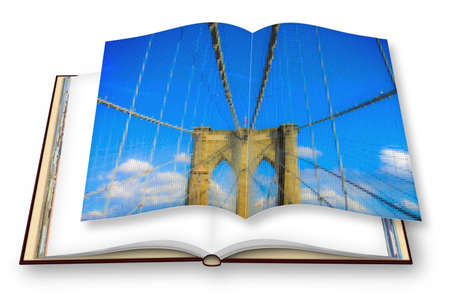 Brooklyn Bridge detail - New York City (USA) - 3D render concept image of an opened photo book with pixelation effect - I'm the copyright owner of the images used in this 3D render