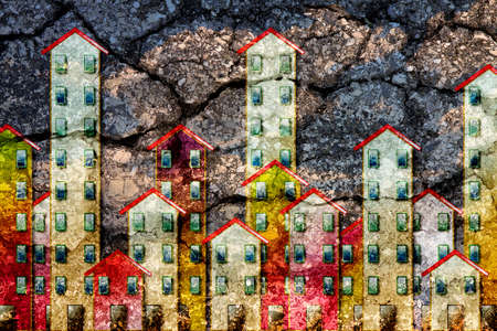 Public housing concept image painted on cracked asphalt road surface background - I'm the copyright owner of the graffiti images used in this picture. 版權商用圖片