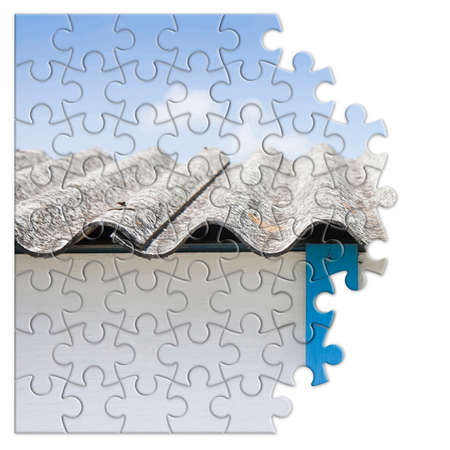 Asbestos removal - concept image in jigsaw puzzle shape 版權商用圖片