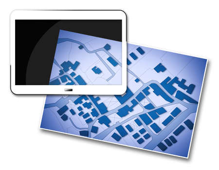 Imaginary cadastral map of territory with buildings, roads and land parcel - Concept image with 3D render of a digital tablet.