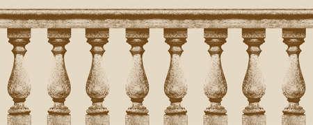 Italian classic balustrade - seamless pattern concept image - Vintage concept illustration.