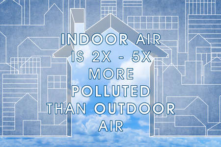 Indoor Air is More Polluted than Outdoor Air - concept image with house against a cloudy sky.