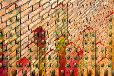 Public housing concept image with a cityscape painted on a brick wall - I'm the copyright owner of the graffiti images used in this picture. 스톡 콘텐츠