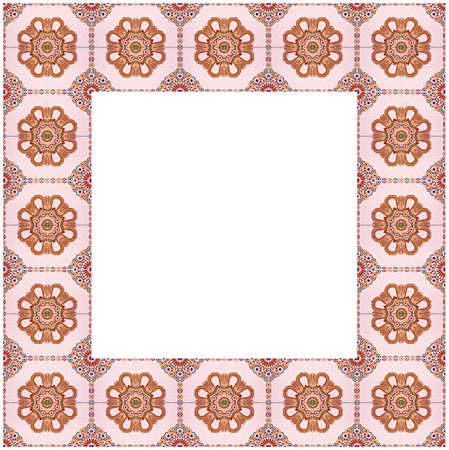 Frame composition of typical maroccan wall decorations with colored ceramic tiles called azulejos with a geometric design.