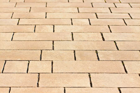 New paving made with colored stone blocks of different sizes