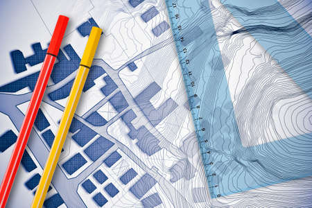Plastic set square with red and yellow marking pen over an imaginary cadastral map of territory with buildings, fields and roads - 3D rendering concept image