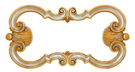 Old italian wooden carved frame with golden floral decorations on white background for easy selection Standard-Bild