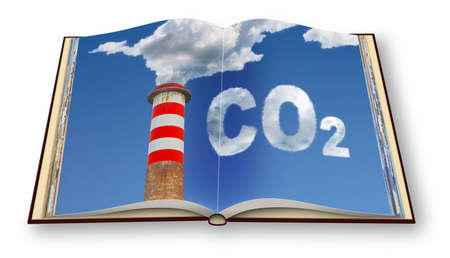 CO2 emission concept image - 3D render photo book. I'm the copyright owner of the images used in this 3D render. 免版税图像