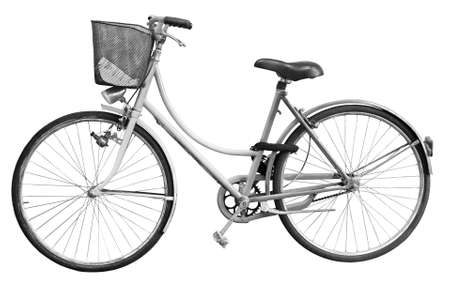 Old bicycle on white background for easy selection - Black and white concept image Full .