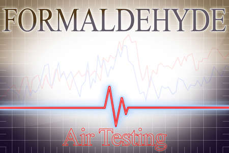 Formaldehyde indoor pollutant Air Testing with graph - concept image.