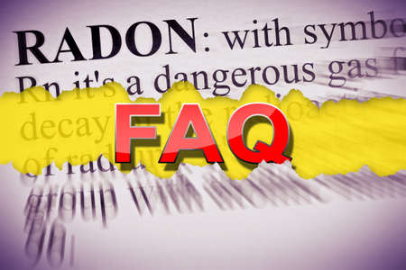 FAQ Frequently Asked Questions about dangerous radon gas - concept image.